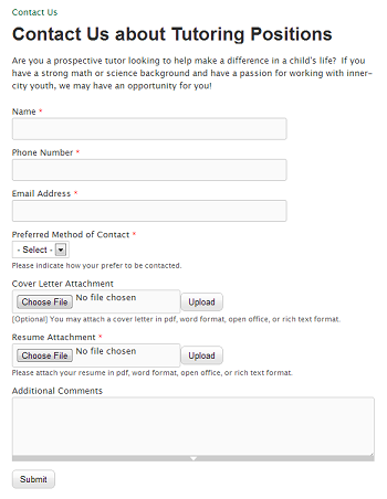 Custom Employment Inquiry Contact Form