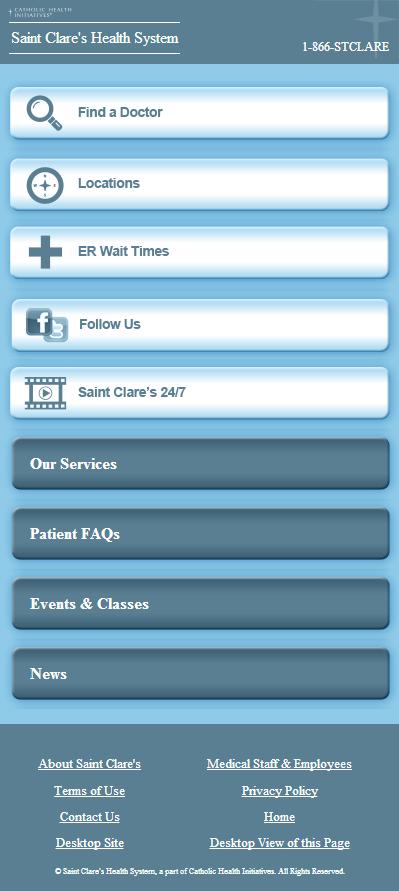 Saint Clare's Mobile Landing Page