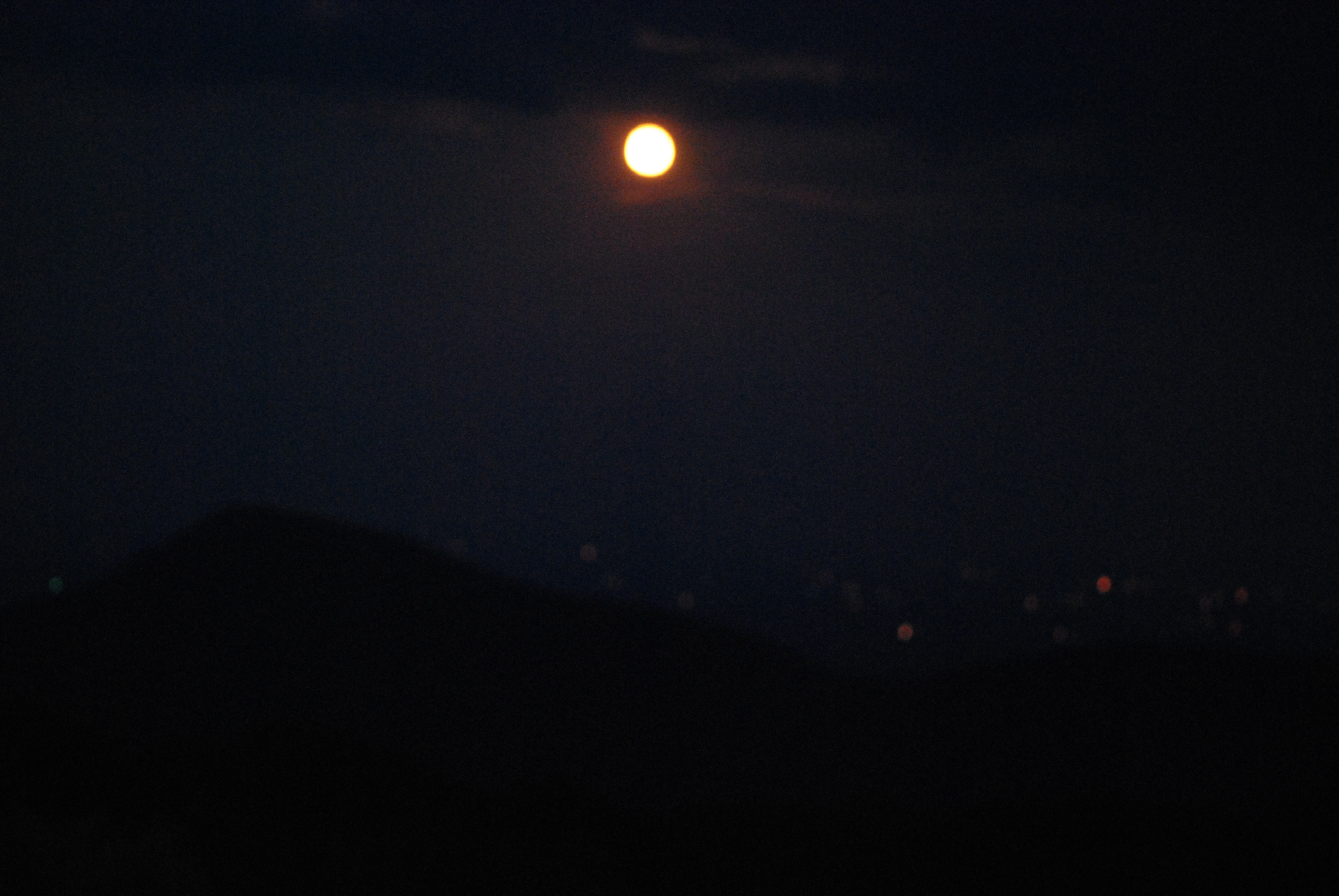 Full Moon on a Hazy Night in the Appalachians