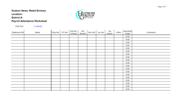 Hudson Group Corporate Branded Payroll Processing Worksheet