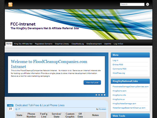 King Dry Water Damage / Flood Cleanup Companies (Wordpress) Intranet