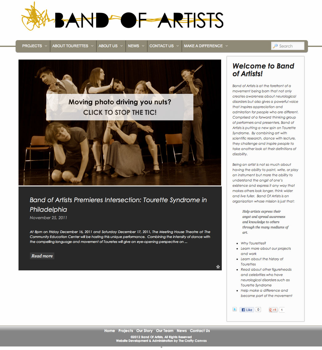 Band Of Artists Website: jQuery Animated Featured Photo