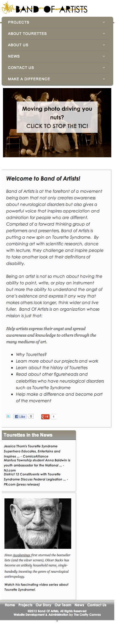 BandOfArtists.org Responsive Design: Mobile Friendly Layout
