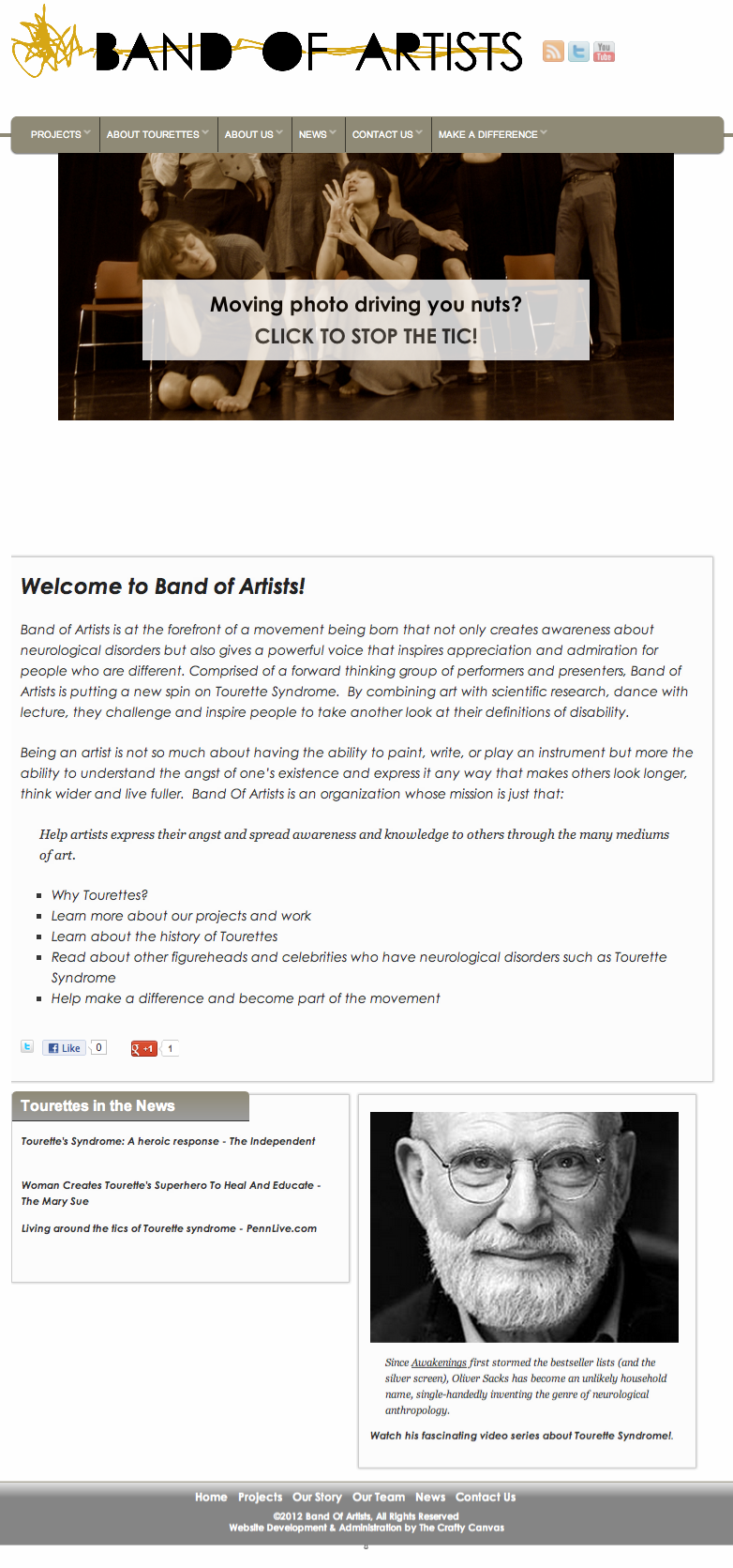 BandOfArtists.org Responsive Design: Tablet Friendly Layout
