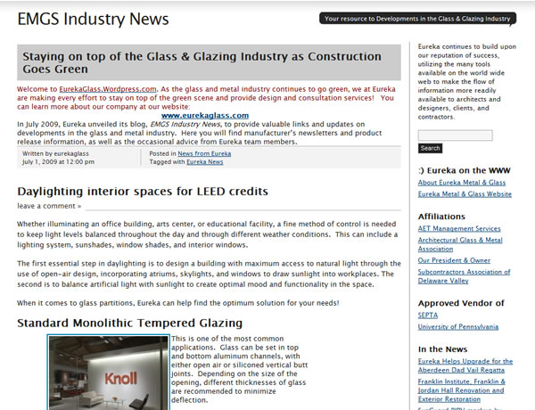 Eureka Metal & Glass Industry News (Wordpress) Blog