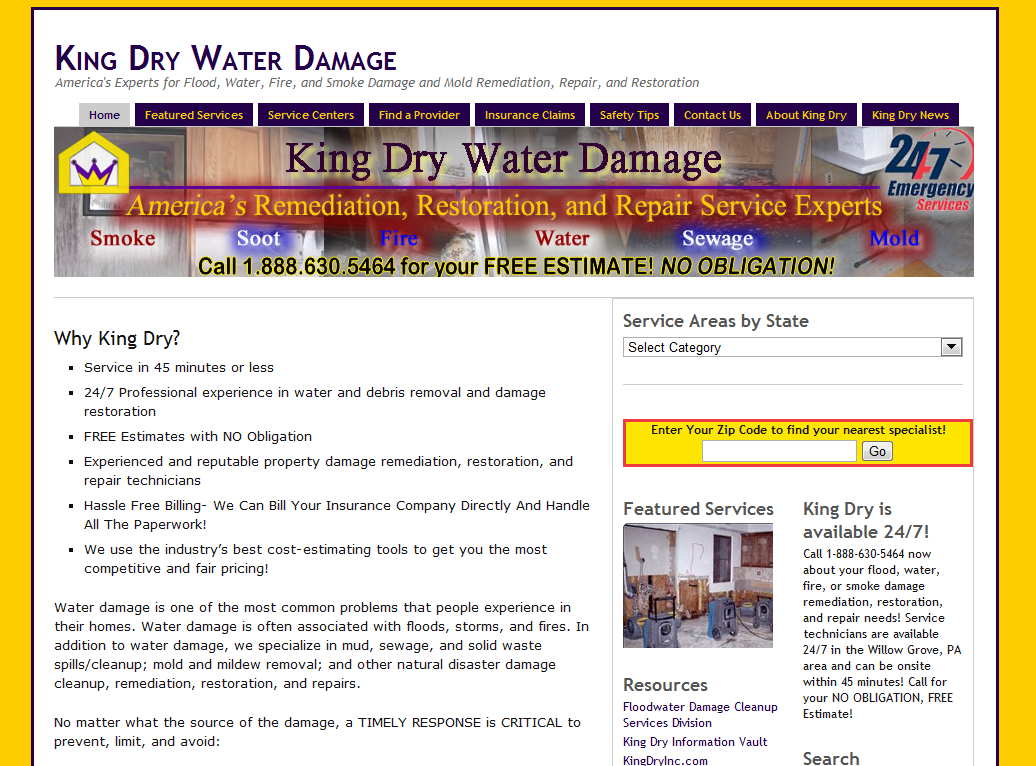 KingDryWaterDamage.com (Wordpress) Site