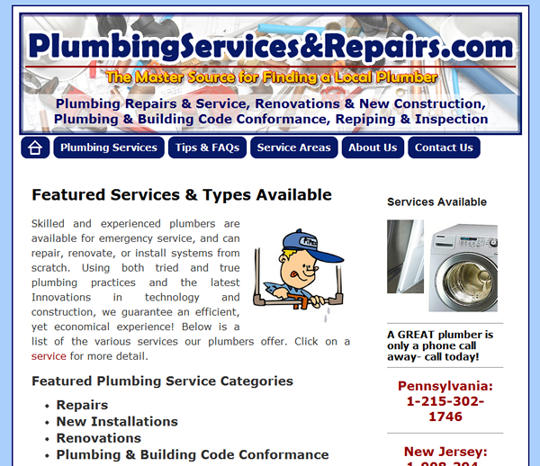 Plumbing Services and Repairs (Wordpress) Web Site