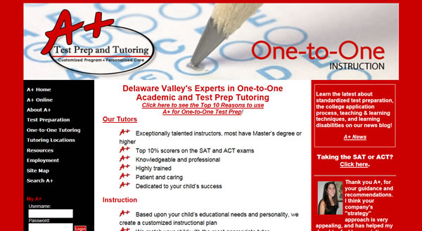A+ Test Prep & Tutoring Website v3.0