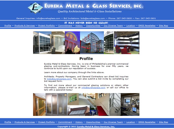 Eureka Metal & Glass Website