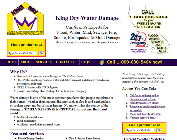 King Dry Water Damage - Assorted Child Sites
