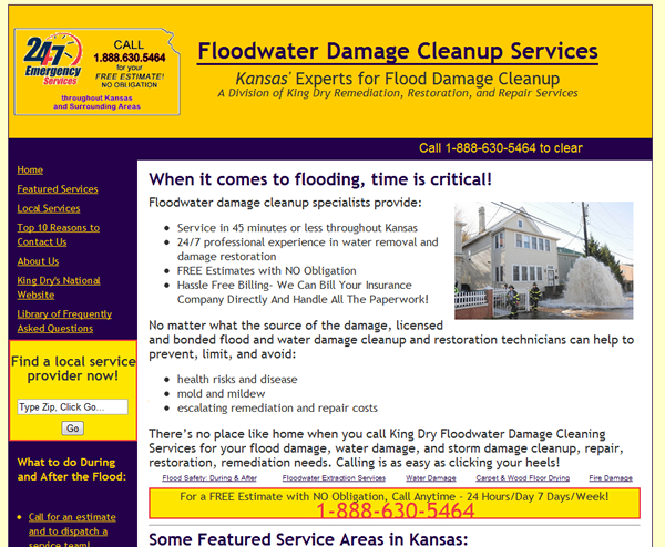 Floodwater Damage Cleanup Services - Multiple Websites