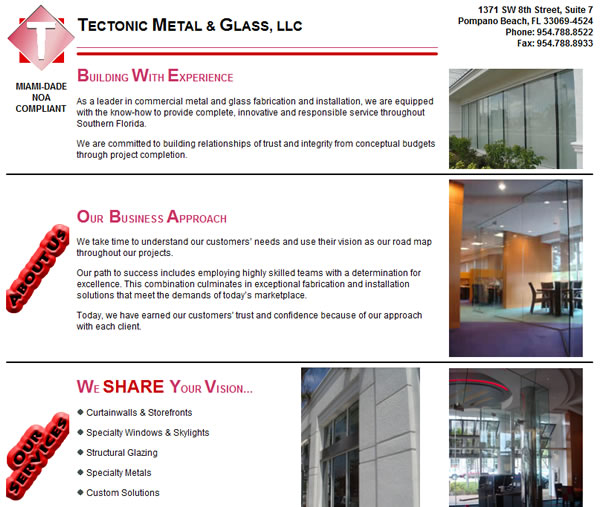 Tectonic Metal & Glass Landing Page