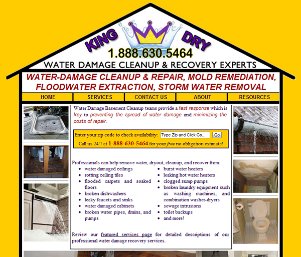 King Dry Water Damage Basement Cleanup Website