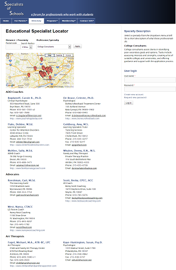 Educational Specialist Directory & Map Search