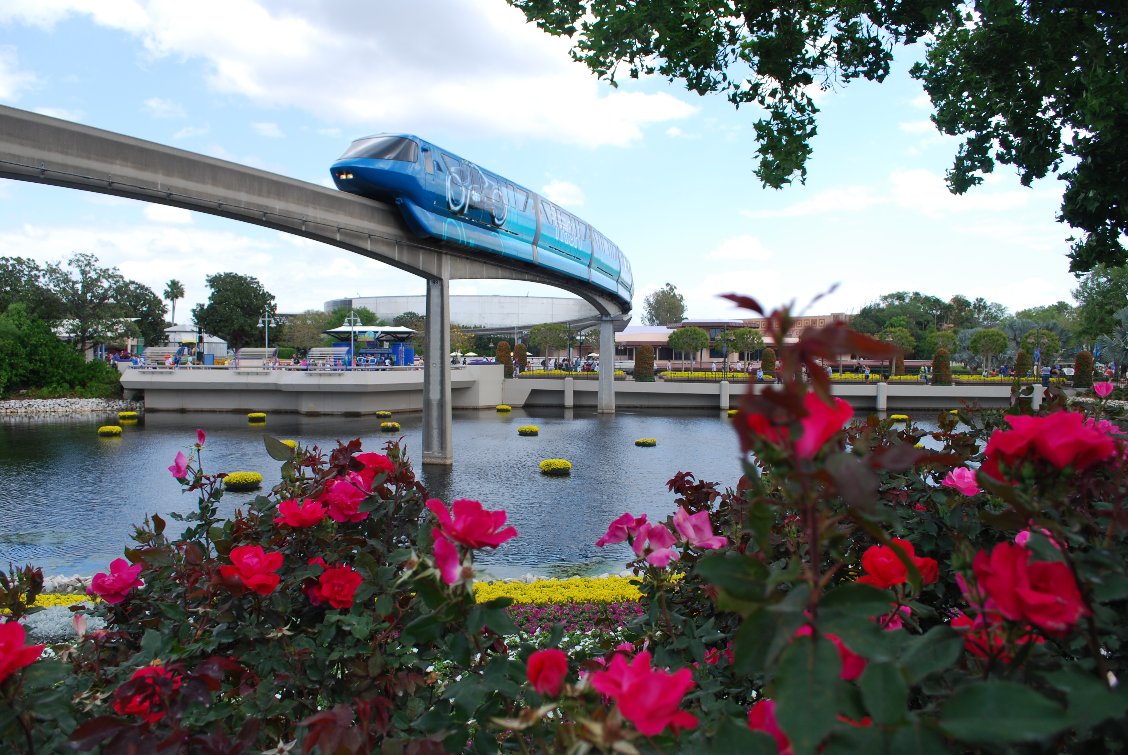 Monorail arriving Epcot Center