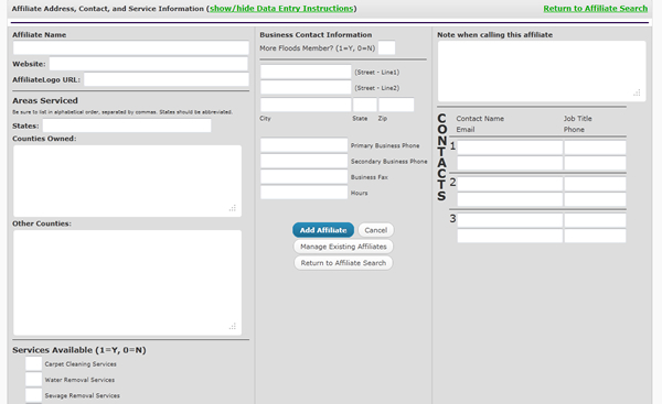 Affiliate Management User Interface- King Dry Water Damage