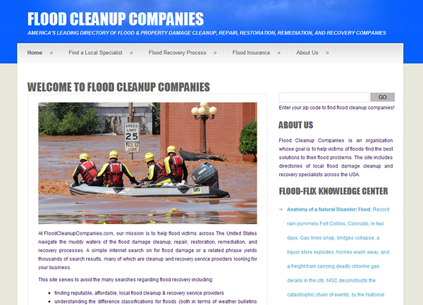Flood Cleanup Companies Website
